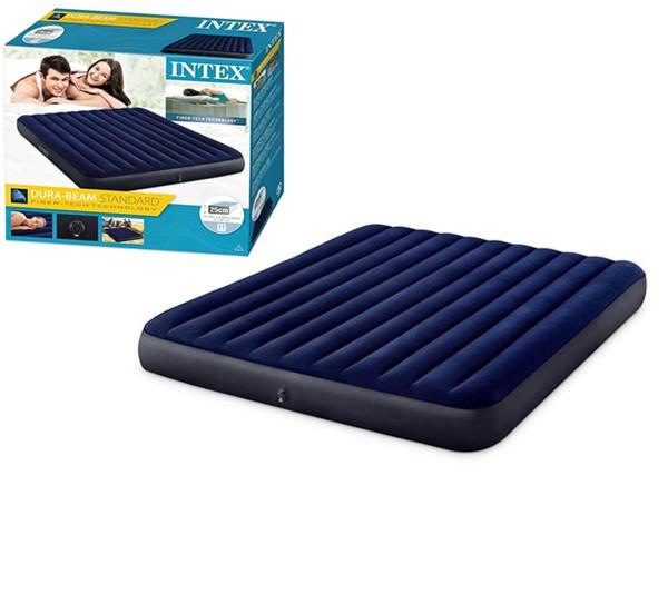 Матрац надувний Intex 64755 велюр, 203 * 183 * 25см, синій, ремкомплект, в коробці 36.5 * 33 * 11.5см