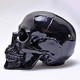 Череп человека декоративный черный в натуральную величину, фото 3