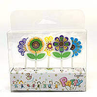 """Свечи для торта фигурные """"Цветы"""", набор из 5 шт."""