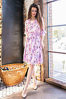 Платье арт. 200 с рюшами цвет 4  магнолия на пудрово-персиковом фоне