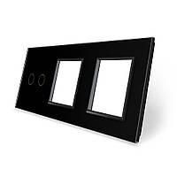 Сенсорная панель выключателя Livolo 2 канала и двух розеток (2-0-0) черный стекло (VL-C7-C2/SR/SR-12), фото 1