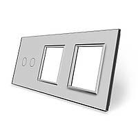 Сенсорная панель выключателя Livolo 2 канала и двух розеток (2-0-0) серый стекло (VL-C7-C2/SR/SR-15), фото 1