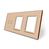 Сенсорная панель выключателя Livolo 2 канала и двух розеток (2-0-0) золото стекло (VL-C7-C2/SR/SR-13), фото 1