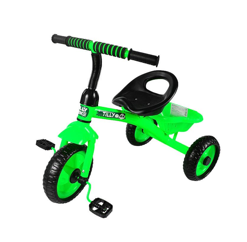 Трехколесный детский велосипед с корзиной Tilly Trike RAPID T-315 Зеленый, EVA колеса