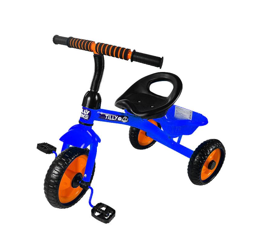 Дитячий триколісний велосипед з багажної кошиком Tilly Trike RAPID T-315 Синій, EVA колеса