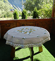 "Лляна скатертина для круглого столу ""Ромашкове поле"""