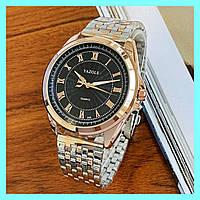 Стильные мужские наручные часы на браслете хорошего качества Yazole Quartz 336 Cuprum-Silver-Black Оригинал