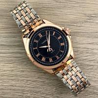 Часы наручные мужские кварцевые на браслете хорошего качества Yazole Quartz 336 Cuprum-Silver-Black