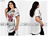 Красивая белая женская летняя туника с модным принтом батал 62, 64, 66 размеры