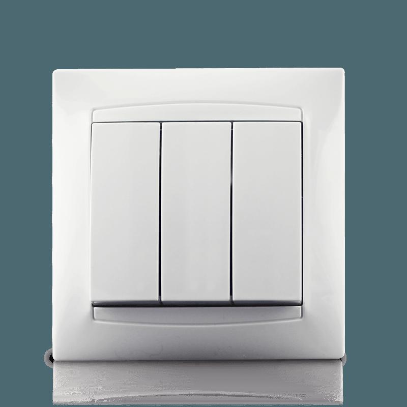 Вимикач трьохклавішний в зборі Erste Prestige біла (9206-03)