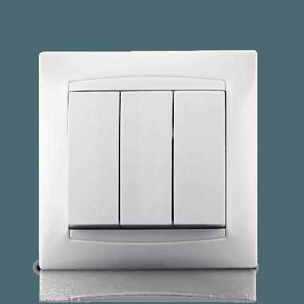 Вимикач трьохклавішний в зборі Erste Prestige біла (9206-03), фото 2