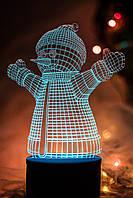 3d-светильник Снеговик, 3д-ночник, несколько подсветок (на батарейке)