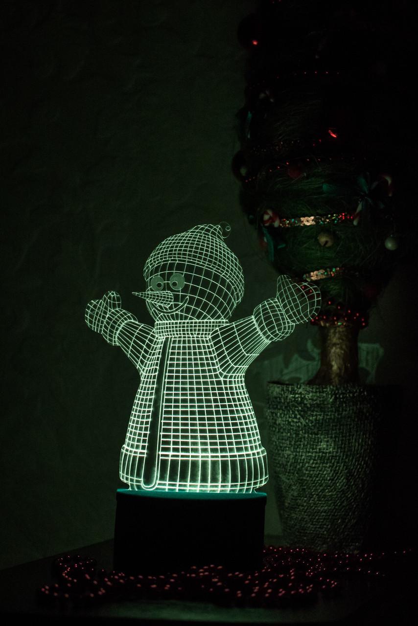3d-світильник Сніговик, 3д-нічник, кілька підсвічувань (на пульті)