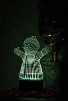 3d-светильник Снеговик, 3д-ночник, несколько подсветок (на пульте)