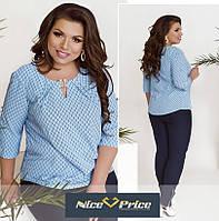 Голубая женская блуза большого размера 50 52 54 56