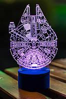 3d-светильник Сокол Тысячелетия (Звездные войны, Star wars), 3д-ночник, несколько подсветок (на батарейке)