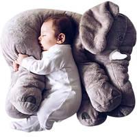 Мягкая игрушка слоник. Милый плюшевый слонёнок подушка 60см серый