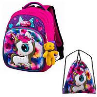 Рюкзак для девочки Winner розовый с единорогом + сумка для обуви 1706k
