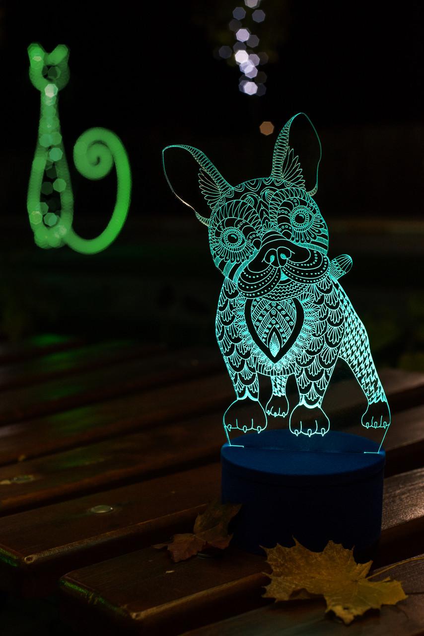 3d-светильник Французский бульдог, 3д-ночник, несколько подсветок (батарейка+220В)