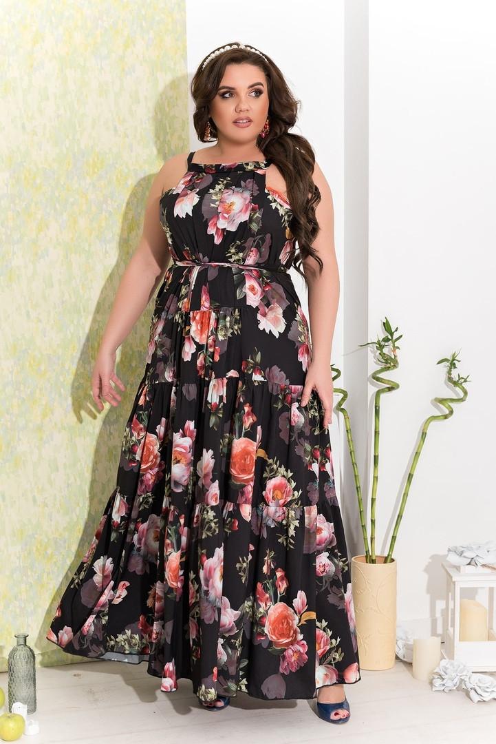 Женское длинное платье с цветочным принтом полубатал 48-52 черное