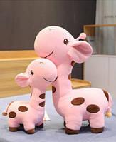 Плюшевый жираф, мягкие игрушки, плюшевая игрушка жираф розовый 55 см
