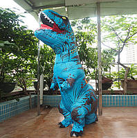 Надувной костюм Тираннозавра, T Rex косплэй, костюм динозавра T-Rex. Тиранозавр надувной (синий)