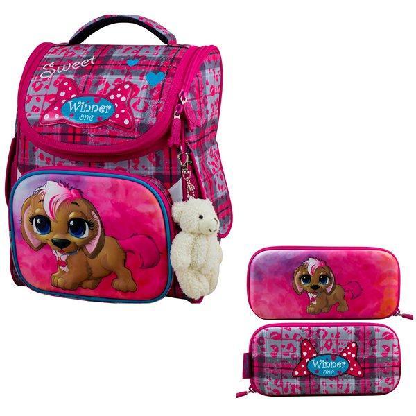 Рюкзак для девочки Winner розовый с совой + пенал 2038k
