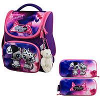 Рюкзак для девочки Winner фиолетовый с котиками + пенал 2039k