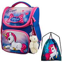 Рюкзак для девочки Winner синий с единорогом + сумка для обуви 2040k
