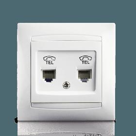 Розетка телефонна подвійна в зборі Erste Prestige біла RJ11 (9206-64)