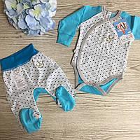Набор одежды для новорожденных в роддом 56Р :розпашонка, штаны и шапочка тонкий на лето