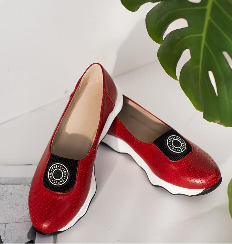 Красные летние кожаные женские туфли 36-41