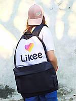 Рюкзак городской молодежный Черный с белым с принтом Likee Лайки унисекс