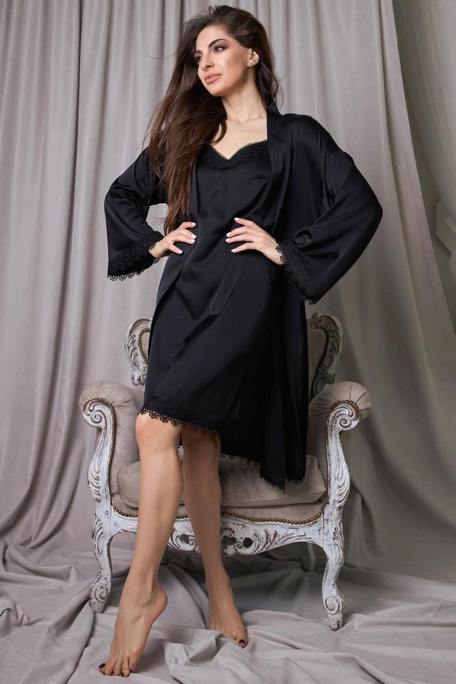 Халат и ночнушка чёрная шёлковая женская