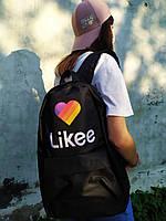 Рюкзак городской молодежный Черный  с принтом Likee Лайки унисекс