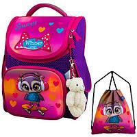 Рюкзак для девочки Winner фиолетовый с совой + сумка для обуви 2053k
