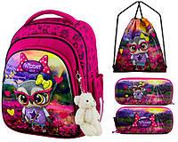 Рюкзак для девочки Winner розовый с совой + пенал+ сумка для обуви 5001k