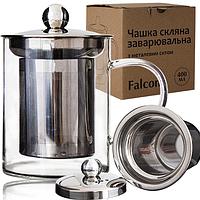 Чашка заварочная стеклянная с металлическим ситечком (420мл.), фото 1