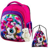 Рюкзак для девочки Winner розовый с единорогом + сумка для обуви 5002k