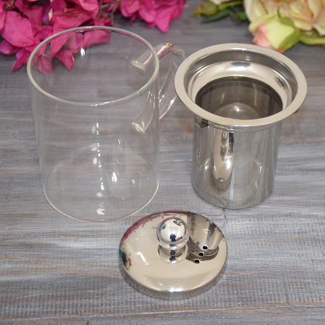 Чашка заварочная стеклянная с металлическим ситечком (фото)