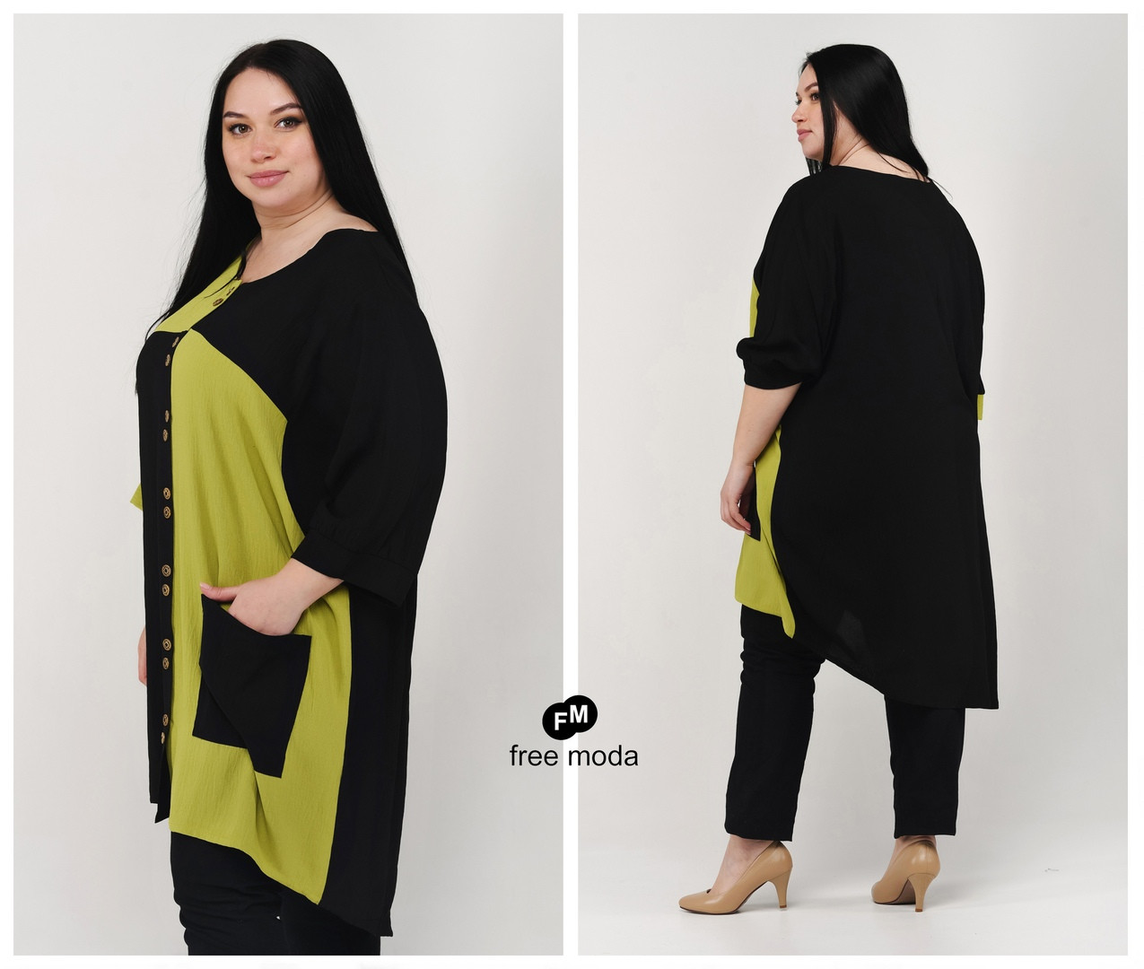 Стильная женская летняя туника-рубашка из льна  батал  с 60 по 70 размер