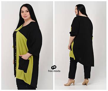 Стильная женская летняя туника-рубашка из льна  батал  с 60 по 70 размер, фото 2