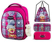 Школьный рюкзак для девочки + брелок игрушка Winner розовый с мишкой + пенал+ сумка для обуви 6013k