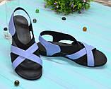 Босоножки кожаные женские Vasha Para 1325 38 цвет голубой, фото 2