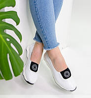 Белые летние кожаные спортивные женские туфли 36-41, фото 1