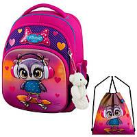 Рюкзак для девочки Winner розовый с совой + сумка для обуви 7002k