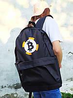 Рюкзак городской молодежный Черный  с принтом Bitcoin биткоин унисекс