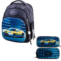 Школьный рюкзак для мальчика Winner черный с машиной + пенал + часы 7008 k