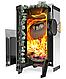 Дровяная печь-каменка Теплодар Домна-Сетка Панорама 20 ЛК с паровой пушкой, объем парилки 20 м.куб, фото 2