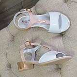 Босоножки кожаные женские Vasha Para 1359 37 цвет белый/пудра, фото 5
